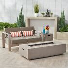 Danae Coral Outdoor Loveseat and Fire Pit Set