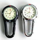 Outdoor Mini Round Arabic Numbers Quartz Analog Clip Carabiner Hook Watch New image