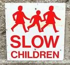 VINTAGE 1950s/60s BRITISH SLOW CHILDREN METAL REFLECTIVE ROAD TRAFFIC SIGN