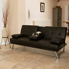 3 SEATER SOFA BED FAUX LEATHER FUTON Z BED ARMCHAIR RED BLACK BROWN WHITE Wido