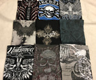 $290 LOT of (9) ARCHAIC by AFFLICTION Mens T-SHIRTS Tattoo Biker UFC Large L NWT