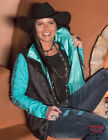 Cowgirl Tuff Women's Black & Turquoise Reversible Zip Up Vest H00562 CLOSE OUT!
