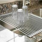Surpahs Over the Sink Multipurpose Roll-Up Dish Drying Rack Warm Gray, Large