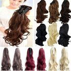 Long Claw Ponytail Hair Piece Extension Straight Wavy Brown Red Black Auburn