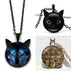 Black Pet Lovers Cat Wiccan Wolf Moon Goddess Pendant Chain Necklace Jewelry