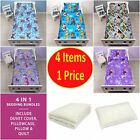 4 in 1 CHILDREN'S BEDDING COT BED BUNDLE DUVET COVER SET JUNIOR KIDS TODDLER