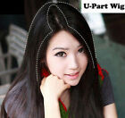 58cm Silk Straight Machine Weft Synthetic Hair U Part Wig Topper Piece for Women