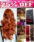 Clip in Hair Extensions Human Feel Purple Blue Brown Blonde Red Highlight Copper