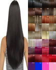 Clip in Hair Extension real Human Feel Black Dark Brown Blonde Red Highlight