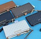 Michael Kors MK Signature  Double Zip Phone Wallet Wristlet Brown Vanilla Black  image