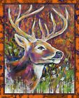 Hand painted deer original artwork print on canvas unframed various sizes