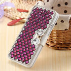 Bling Crystal Diamonds magnetic PU leather flip slots stand wallet case cover T8
