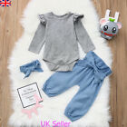 Newborn Infant Baby Girls Fly Sleeve Tops Romper Pants Outfits Set Clothes 0-24M