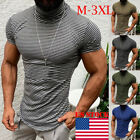 Mens Striped Turtleneck Short Sleeve Muscle Tee Shirt Casual T-shirt Tops Blouse image