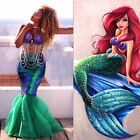 US XMAS Women Kid Mermaid Tail Full Skirt Party Maxi Fancy Dress Cosplay Costume