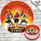 POWER RANGERS EDIBLE ROUND BIRTHDAY CAKE TOPPER DECORATION PERSONALISED