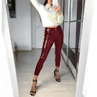 Hose Leggings Wet Look Lack Leder Kunstleder Optik Hoch Glanz Jeans Jeggings Zip