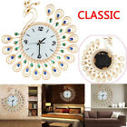 Luxury Diamond Peacock Large Wall Clocks Metal Living Room Wall Watch Home Decor