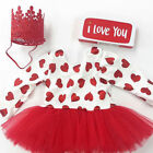 Lovely Toddler Kids Baby Girls Valentines Day Love Party Dress Clothes Outfits