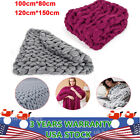 Chunky Knitted Thick Crochet Blanket Hand Yarn Bulky Knit Throw Sofa Bed 2 Sizes image