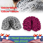 Soft Warm Hand Chunky Knitted Wool Blanket Sofa Thick Yarn Bulky Throw Mat Decor image