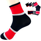 7 Pairs Men's Ankle Crew Socks Wide Line Strip Pattern Casual Cotton Lot Sock