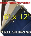 6' x 12' Workhorse Polyester Waterproof Breathable Canvas Tarp