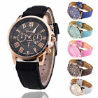 Ladies Women Mens Girls Analog Quartz Wrist Watches Trendy Leather Strap image