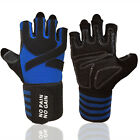 Gym Gloves Men Wrist Wrap Fits Weight Lifting/Sports/Training/Workout/Fitness US