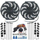DUAL ELECTRIC RADIATOR COOLING FAN S ADJUSTABLE THERMOSTAT CONTROLLER SWITCH KIT