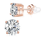 Buyless Fashion Girls Stud Earrings 14K Rose Gold Plated with White Zirconia