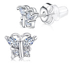 Buyless Fashion Girls Butterfly Birthstone Stud Earring Surgical Stainless Steel