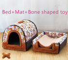 Pet Dog House Kennel Soft Igloo Beds Cave Cat Puppy Bed Doggy Warm Cushion set
