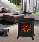 Lincsfire Black Electric Fireplace Stove Heater with Flame Effect - 1850W - Port