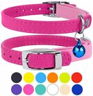 """Leather Cat Collar Safety With Elastic Strap Kitten Bell Neck Fit 9""""-11"""""""