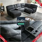 Gloucester Electric Recliner Suede Fabric Sofa Suite 3+2+1 Large Luxury Couches