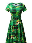 Womens Short Sleeve St. Patricks Day Parade Clover Green Dress Party Accessories