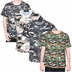 Kids T-shirt Camouflage Army Woodland Camo Military School PE Boys Shirt Tops UK