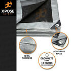 Heavy Duty Silver/Black Poly Tarp Water Proof Cover Tent RV Boat Tarpaulin