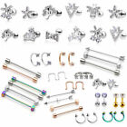 Steel Cubic Zirconia Ear Industrial Piercing Nose Lip Eye Earring Set Lot Kit US
