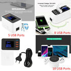 USB Adapter 5 8 10 Ports Desktop Wall Charger Smart LED Display Charging Station