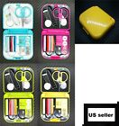 Внешний вид - Travel Sewing Kit Thread Needles Mini Case Plastic Scissors Tape Pins Set New US