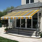 10' 12' 13' Patio Manual Window Awning Retractable Polyester Sunshade Aluminum