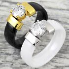 6mm Hi-Tech Ceramic 0.85 Carat CZ Engagement Ring Black or White