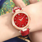 Women Casual Quartz Watch Round Star Dial Watch with Perforated Frosted Strap image