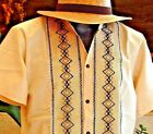 Mexican Ivory Guayabera Casual Shirt Cotton Manta Embroidered Button Down all sz