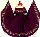Purple Authentic Mexican Jalisco folklorico Dance Dress Rodeo 5 de Mayo 2 pc NWT