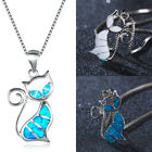 Luxury White/blue Fire Opal Cat Charm Pendant 925 Silver Chain Necklace Jewelry