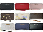 Michael Kors Jet Set Travel Continental Long Wallet Wristlet Brown Vanilla Black