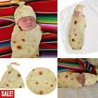US Burrito Baby Blanket Flour Tortilla Swaddle Soft Blanket Sleeping Blanket+Hat image